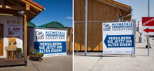 AVS Megaschilder für Annahmestation