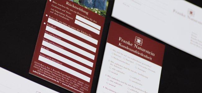 Franke Naturstein Feedback- und Rückmeldungskarte