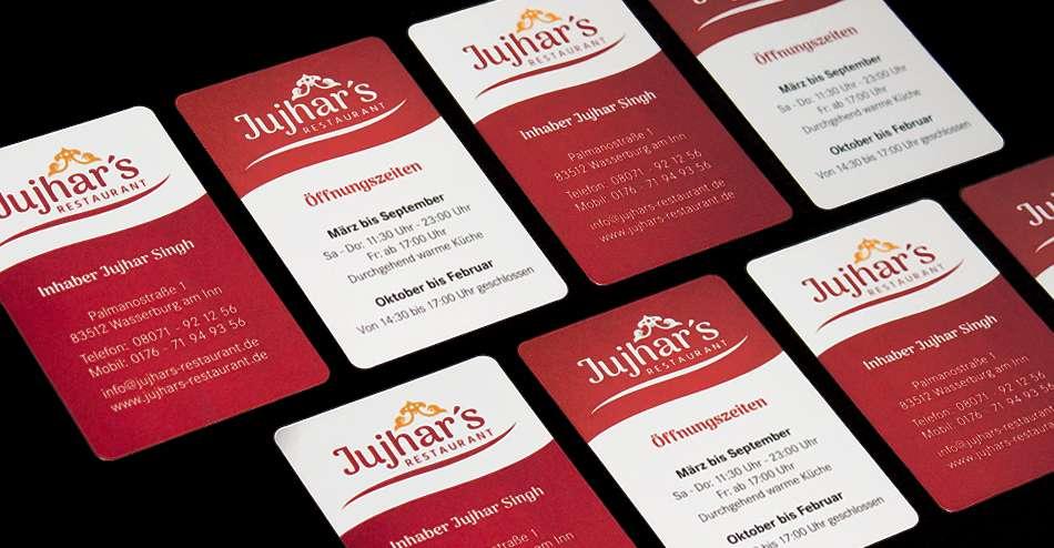 Visitenkarten für Jujhar's Restaurant