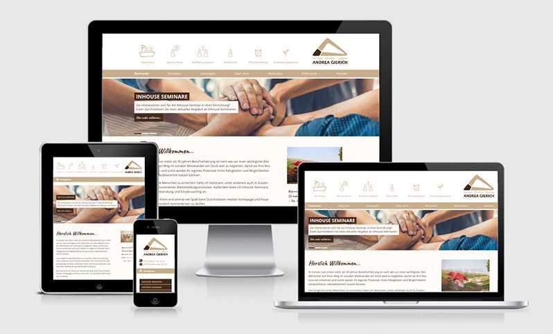 Webdesign und Printprodukte für Andrea Gierich
