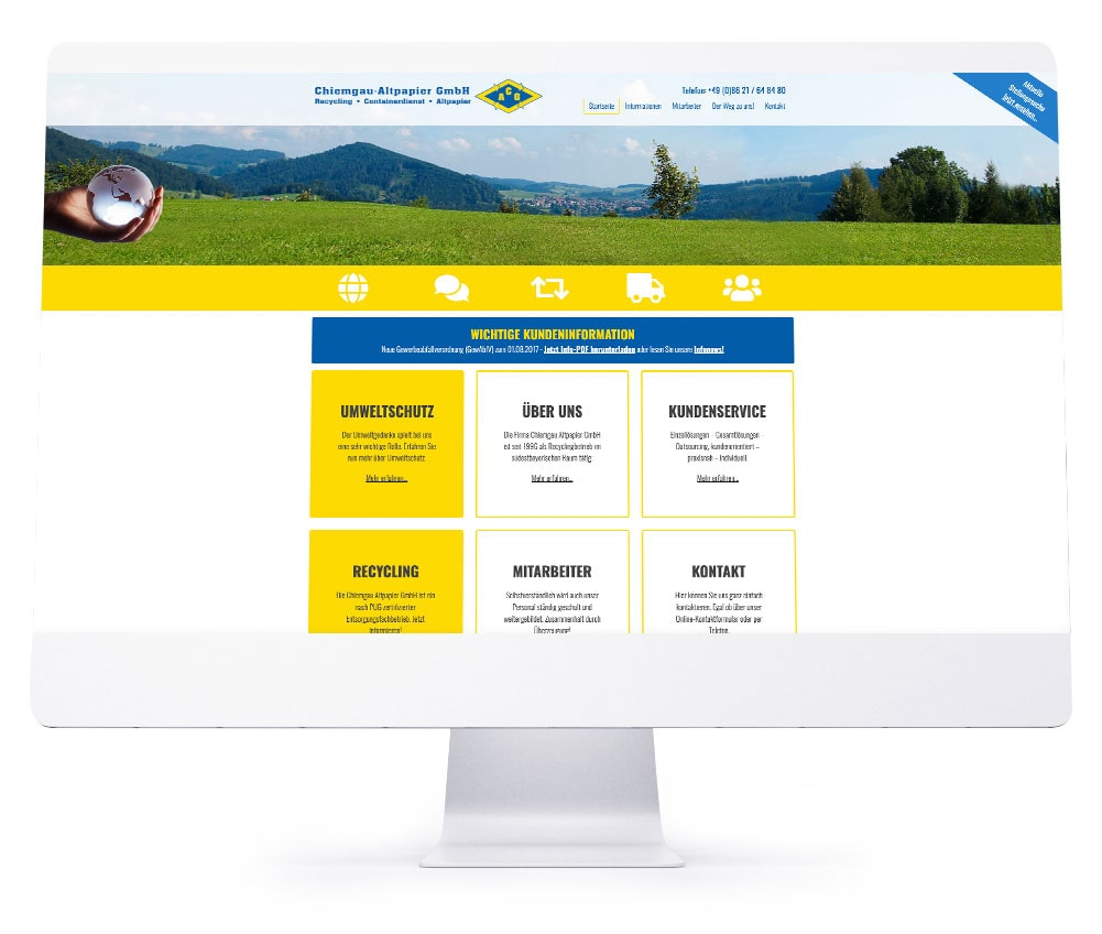 Webdesign Referenzen - Chiemgau Altpapier GmbH