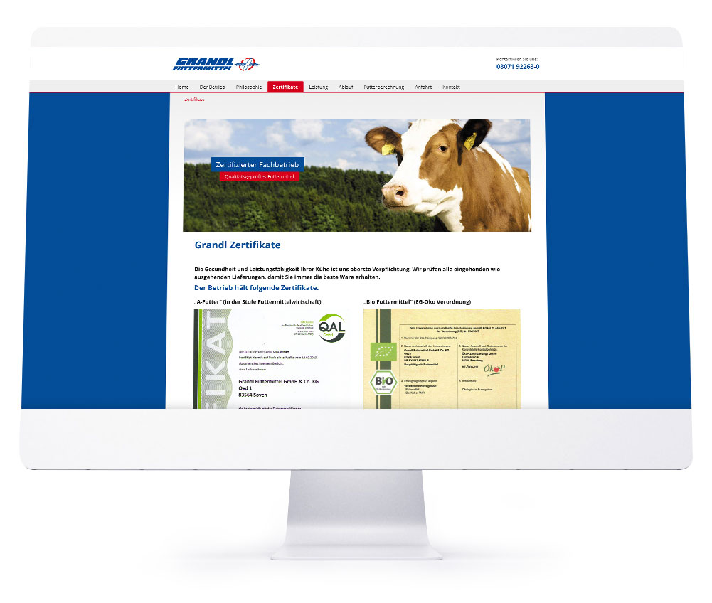 Die perfekte Webseite für Ihr Hotel - Grandl Futtermittel GmbH & Co. KG