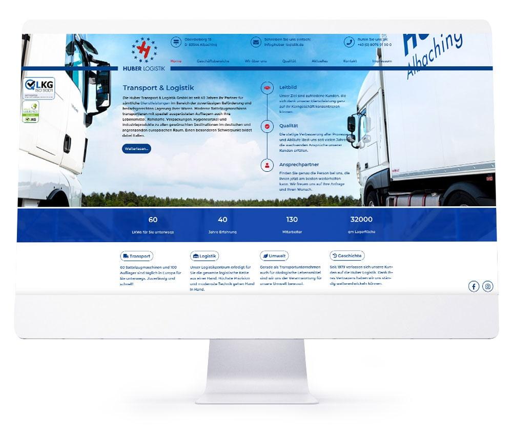 Webdesign Referenzen - Huber Transport & Logistik GmbH