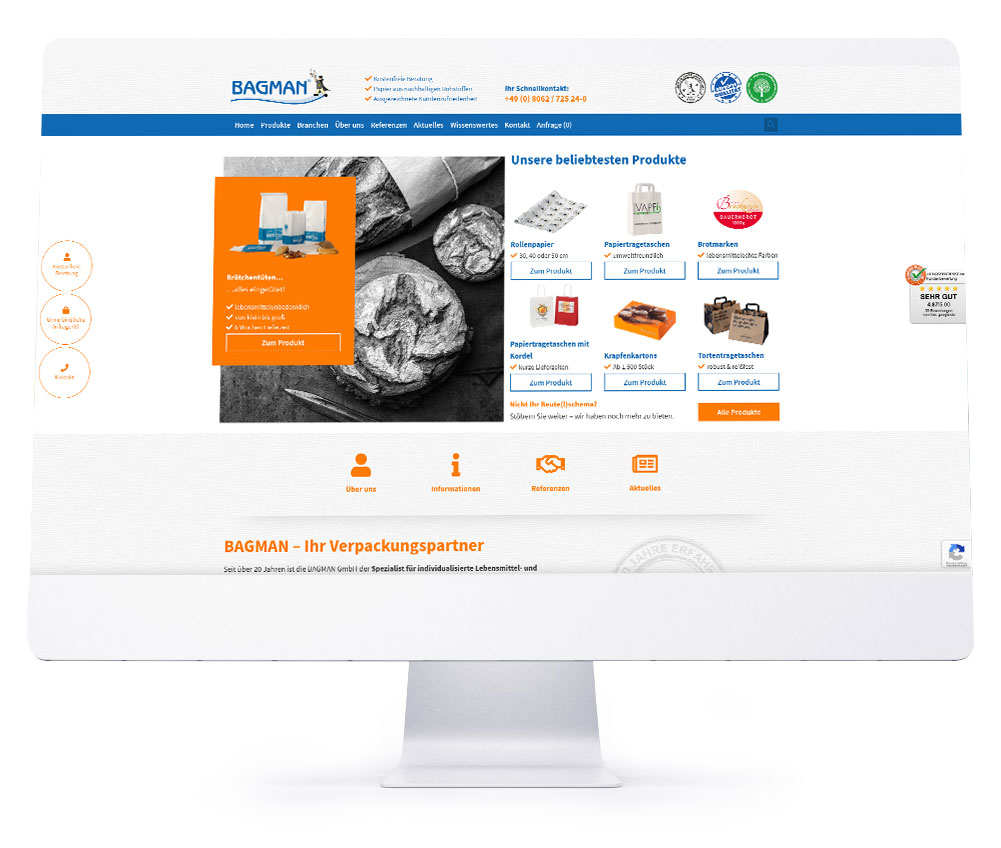 Webdesign Referenzen - BAGMAN GmbH