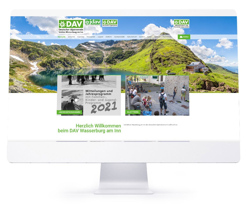 Webdesign Referenzen - DAV e. V. Wasserburg