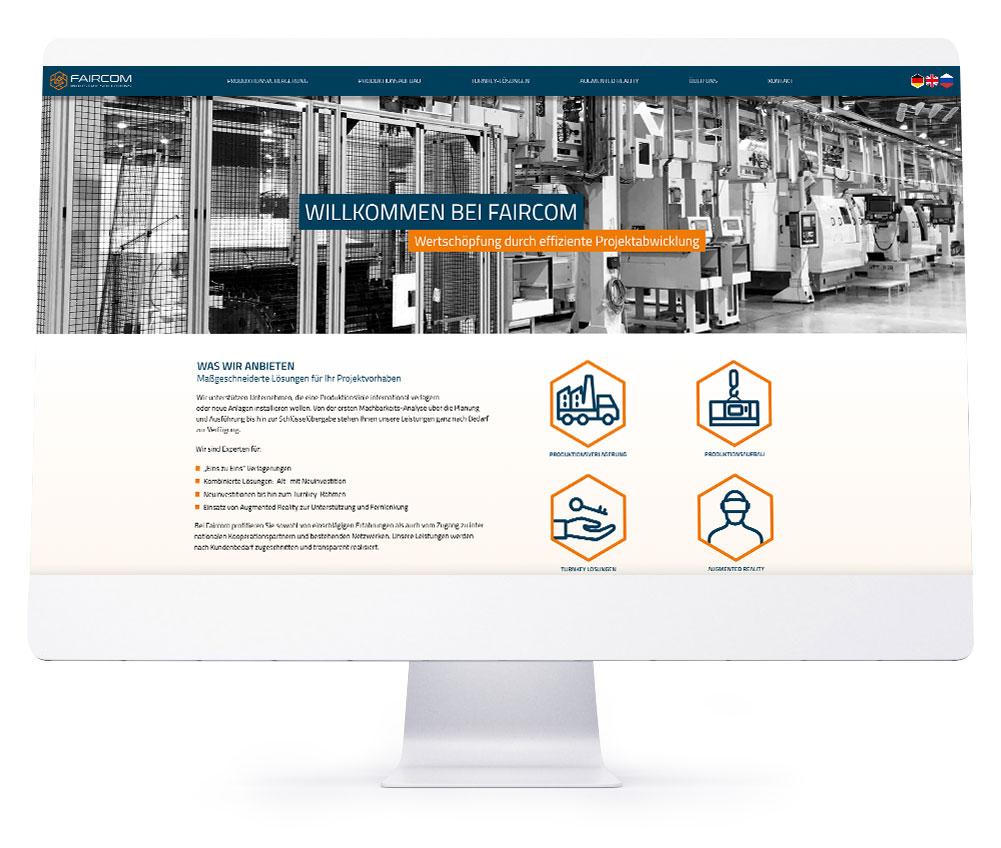 Webdesign Referenzen - Faircom Industry Solutions GmbH