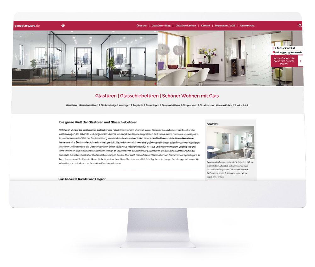 Webdesign Referenzen - ganzglastuere.de