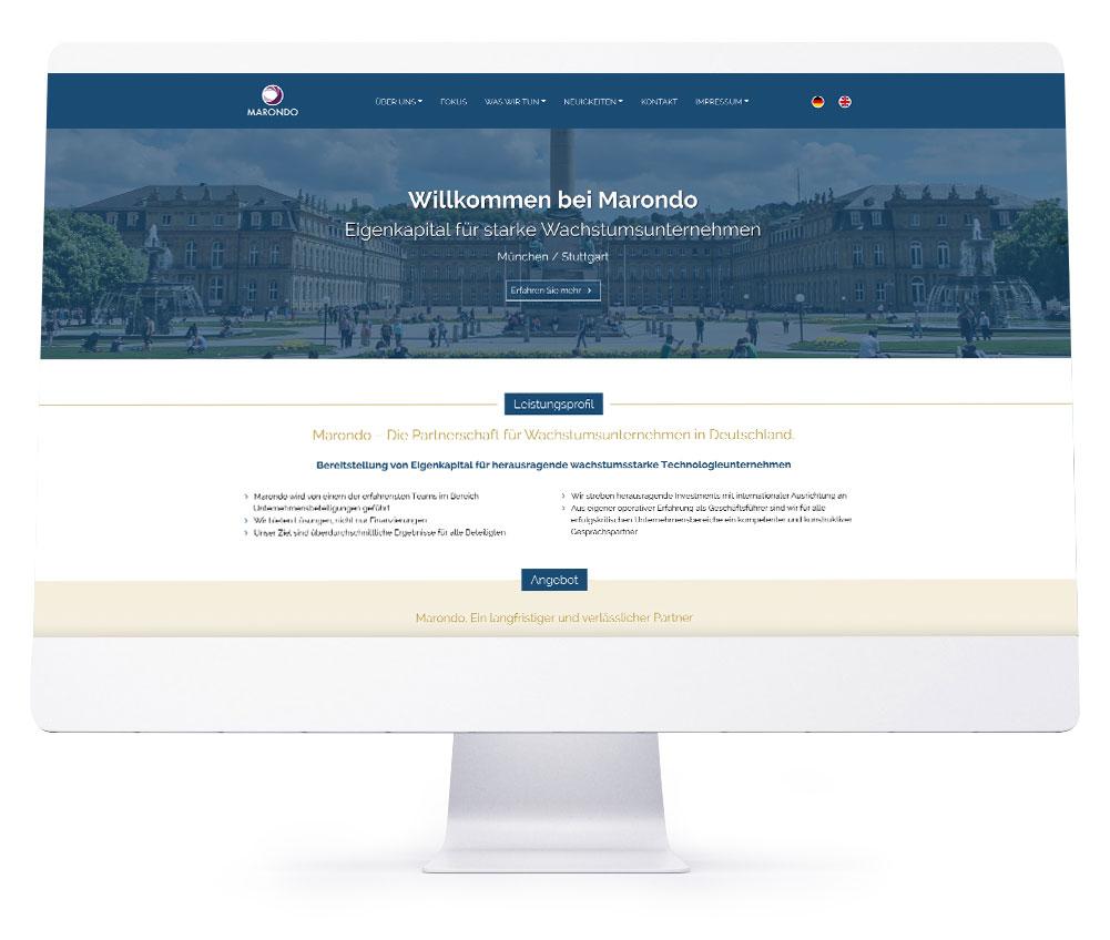 Webdesign Referenzen - Marondo Capital GmbH